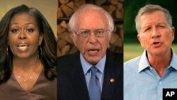 Mišel Obama, Berni Sanders i Džon Kejsik govore tokom prve večeri Nacionalne konvencije Demokratske stranke (Foto: AP/DNC)