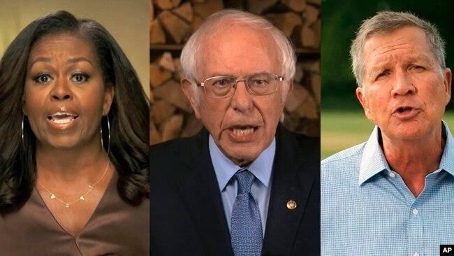 Đại hội Toàn quốc Đảng Dân Chủ 2020. Ảnh ghép 3 diễn giả chụp lại từ video: Cựu Đệ Nhất Phu nhân Michelle Obama, TNS Bernie Sanders (giữa), và Cựu Thống đốc bang Ohio (thuộc Đảng Cộng hòa), ngày 17/8/2020. (Democratic National Convention via AP)