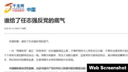 与北京官方有关的千龙网发表的谴责商人任志强反党的文章。(网页截图)
