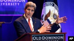 U.S. Secretary of State John Kerry speaks on the impact of climate change at Old Dominion University in Norfolk, Va., Nov. 10, 2015.