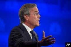 FILE - Jeb Bush speaks during the CNBC Republican presidential debate at the University of Colorado, Oct. 28, 2015, in Boulder, Colo.