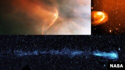 Other stars show tails that trail behind them like a comet's tail. NASA's Interstellar Boundary Explorer helped confirm that our solar system has one too. From top left and going counter clockwise, the stars shown are: LLOrionis; BZ Cam; and Mira (NASA/HST/R.Casalegno/GALEX)