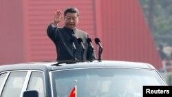 Chủ tịch Trung Quốc Tập Cận Bình trong lễ duyệt binh hôm 1/10.
