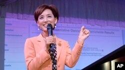 미국 캘리포니아주 연방 하원의원 선거에 출마한 공화당 영 김 후보가 6일 로스엔젤레스 로랜하이츠에서 지지자들을 향해 연설하고 있다.