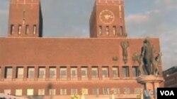 诺贝尔和平奖颁奖典礼举办地奥斯陆市政厅(美国之音方正拍摄)