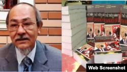 Nhà văn Phạm Thành và quyển sách Nguyễn Phú Trọng: Thế thiên hành đạo hay Đại nghịch bất đạo. Photo Facebook Bà Đầm Xòe