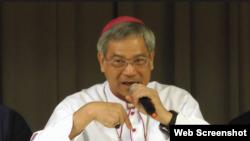 台湾主教团主席洪山川总主教2016年8月6日在台北主教公署就中梵关系发表看法。(YouTube视频截图)