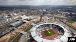 Pogled iz vazduha na Olimpijski park obuhvata Olimpijski stadijum, centar za vodene sportove i arenu za vaterpolo.