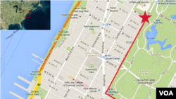 Macy's Thanksgiving Day Parade route (click to enlarge)