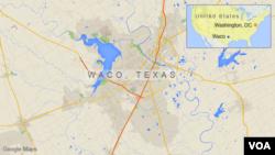 Bản đồ Waco, cách thành phố Dallas ở bang Texas 150 kilomet về phía nam.