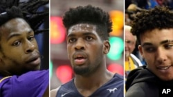 FILE - (L-R) Aransas Pass high school basketball player Jalen Hill is shown during a state semifinal basketball game in San Antonio. March 10, 2016. At center, Sierra Canyon's Cody Riley is shown during a high school basketball game in Springfield, Mass., Jan. 16, 2017. At right, LiAngelo Ball is shown in Los Angeles, Nov. 20, 2016.