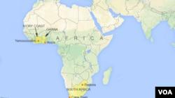 Kat geografik ki montre peyi an Afrik yo.