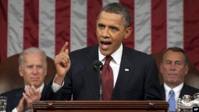 Tổng thống Obama đọc diễn văn về tình trạng liên bang trước lưỡng viện Quốc hội, ngày 12/2/2013.