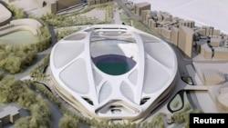Model Stadion Nasional untuk Olimpiade dan Paralimpik Tokyo 2020 yang dirancang oleh arsitek Zaha Hadid.
