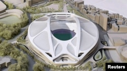 Model render Stadion Nasional baru untuk Olimpiade dan Paralimpiade Tokyo 2020, yang dirancang oleh arsitek Irak-Inggris Zaha Hadid.
