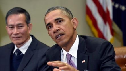 2015年5月1日美国总统奥巴马在白宫会见移民新闻工作者时答记者问。