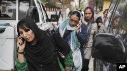 아프가니스탄 카불의 여성 공무원들. (자료사진)