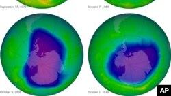 Lapisan ozon menunjukkan gejala terus pulih setelah penggunaan zat-zat kimia tertentu dalam produk pendingin dan tabung aerosol dihentikan sejak 1980-an (foto: NASA).