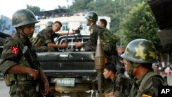 Tentara Pasukan Kemerdekaan Kachin (KIA) di Laiza, perbatasan antara China dan Myanmar. (Foto: Dok)