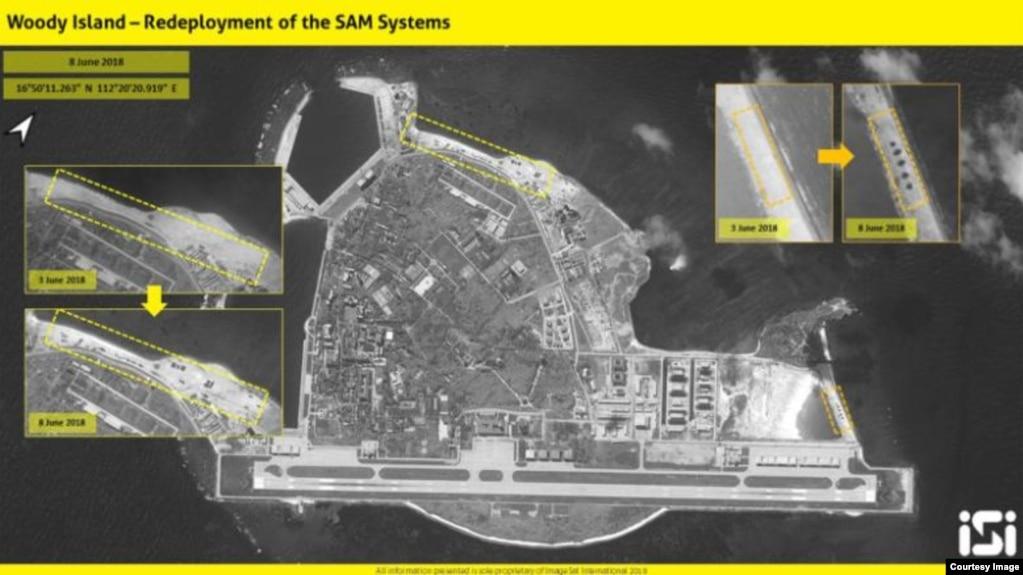 """以色列情報分析公司""""圖像衛星國際""""發表2018年6月8日的衛星圖像,說中國在帕拉塞爾群島(中國稱西沙群島)的伍迪島(中國稱永興島)上重新部署了""""紅旗9""""導彈系統。"""