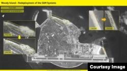 """以色列情报分析公司""""图像卫星国际""""发表2018年6月8日的卫星图像,说中国在帕拉塞尔群岛(中国称西沙群岛)的伍迪岛(中国称永兴岛)上重新部署了""""红旗9""""导弹系统。"""