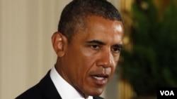 ປະທານາທິບໍດີ Barack Obama ກ່າວຢູ່ພິທີນຶ່ງ ທີ່ທໍານຽບຂາວ ກ່ຽວກັບສະຖານະການໃນຊີເຣຍ, ວັນທີ 26 ສິງຫາ 2013.