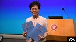 香港特首林鄭月娥發表任內第二份施政報告。(美國之音特約記者 湯惠芸拍攝 )
