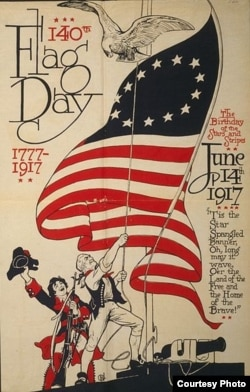 "This is a poster from 1917, a year after President Woodrow Wilson declared June 14th ""Flag Day,"" and 140 years after the Continental Congress adopted the US flag's design. (Library of Congress)"
