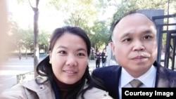 中国人权律师余文生和妻子许艳(资料照片)