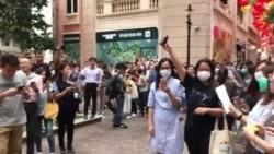 """香港多處地點在週五舉行""""快閃大合唱"""""""