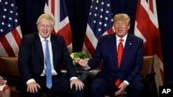 Премєр-міністр Борис Джонсон з президентом Дональдом Трампом, який висловив підтримку британському колезі на зустрічі в ООН у Нью-Йорку 24 вересня 2019 р.