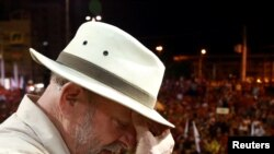 L'ancien président brésilien Luiz Inacio Lula da Silva, lors d'un meeting à Sao Leopoldo, dans l'Etat du Rio Grande do Sul, au Brésil, le 23 mars 2018.