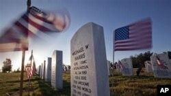 Arlington milliy qabristonida har bir qabr yoniga mitti bayroq qadaldi