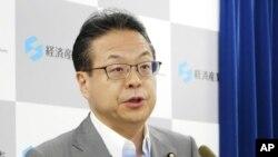 Menteri Ekonomi, Perdagangan, dan Industri Jepang Hiroshige Seko dalam konferensi pers di Tokyo, Jepang, 8 Agustus 2019.