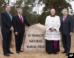 Peter Ward (Chairman Catholic Cemeteries), MInister for Lands Tony Kelly, Bishop Julian Porteous, Michael McMahon (CEO Catholic Cemeteries) at the opening of the St. Francis Natural Burial Field at Kemps Creek, Sydney, Australia