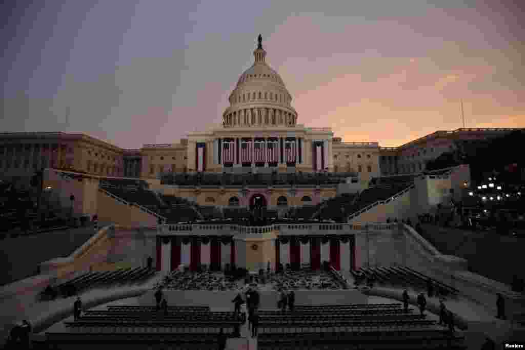 The U.S. Capitol is pictured at sunrise before the inauguration of U.S. President Barack Obama in Washington, January 21, 2013