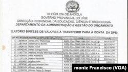 Lista parcialde professores fantasmas no Uíge