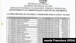 Lista de professores fantasmas no Uíge