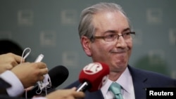 President of Brazil's Chamber of Deputies Eduardo Cunha speaks during a news conference at the Chamber of Deputies in Brasilia, Brazil, Dec. 7, 2015.
