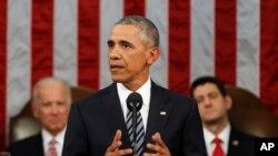 Le président Barack Obama s'adressant aux deux chambres du Congrès américain. (AP Photo/Evan Vucci, Pool)