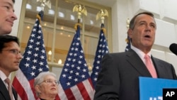 House Speaker John Boehner of Ohio speaks during a news conference on Capitol Hill in Washington on Oct. 10, 2013, following a meeting of House Republicans.