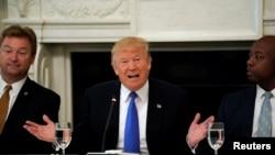 美国总统川普在白宫与国会共和党人讨论医保改革 (2017年7月19日)