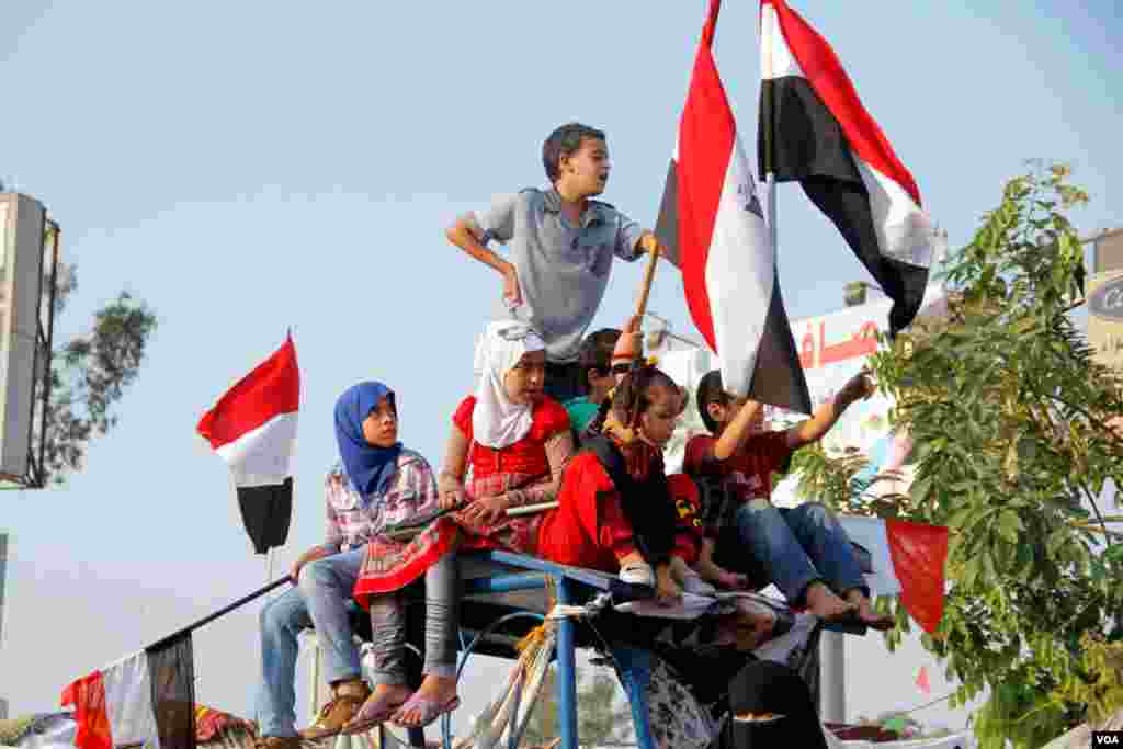 Children have been participating in protests in Egypt since the became widespread and near-constant in 2011. (H. Elrasam for VOA)