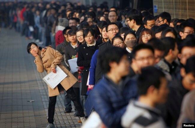 求职者在天津大学的招聘会上(2013年11月22日)