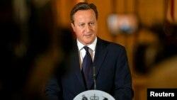 PM Inggris David Cameron Minggu (14/9) di London memberikan pernyataan setelah tewasnya pekerja bantuan Inggris David Haines yang dibunuh kelompok ISIS.