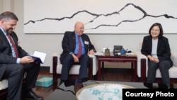 """台灣總統蔡英文星期一接見美國""""威爾遜國際學人中心""""(Wilson Center)訪問團。"""
