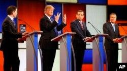 'Yan takaran jam'iyyar Rpublican. Daga hagu Rubio, da Trump, da Cruz da Kasich