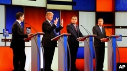 'Yan takaran bagaren Republican. Daga hagu Rubio, Trump, Cruz, da Kasich