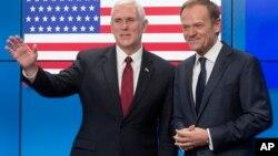 (资料图)美国副总统彭斯与欧盟理事会主席图斯克于布鲁塞尔会面。