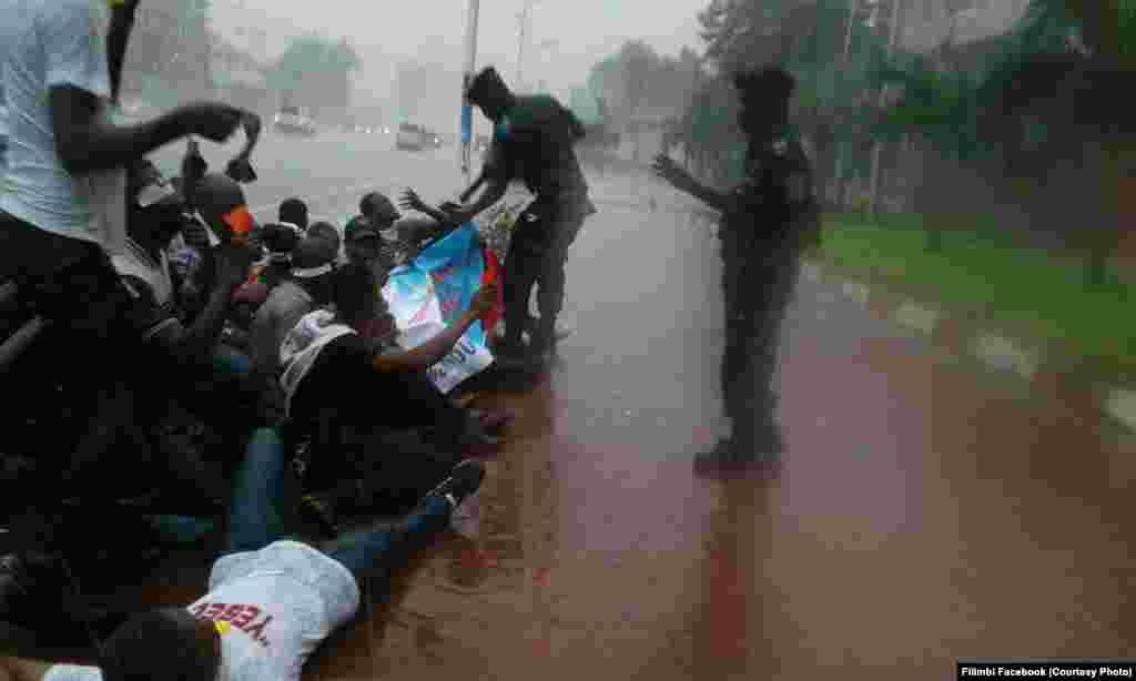 """La police interpelle des militants du mouvement citoyen """"Filimbi"""" (sifflet en swahili) lors d'un sit-in sous une pluie battante devant le siège de l'Union africaine (UA) à Kinshasa, 29 octobre 2017. Crédit/Filimbi Facebook"""